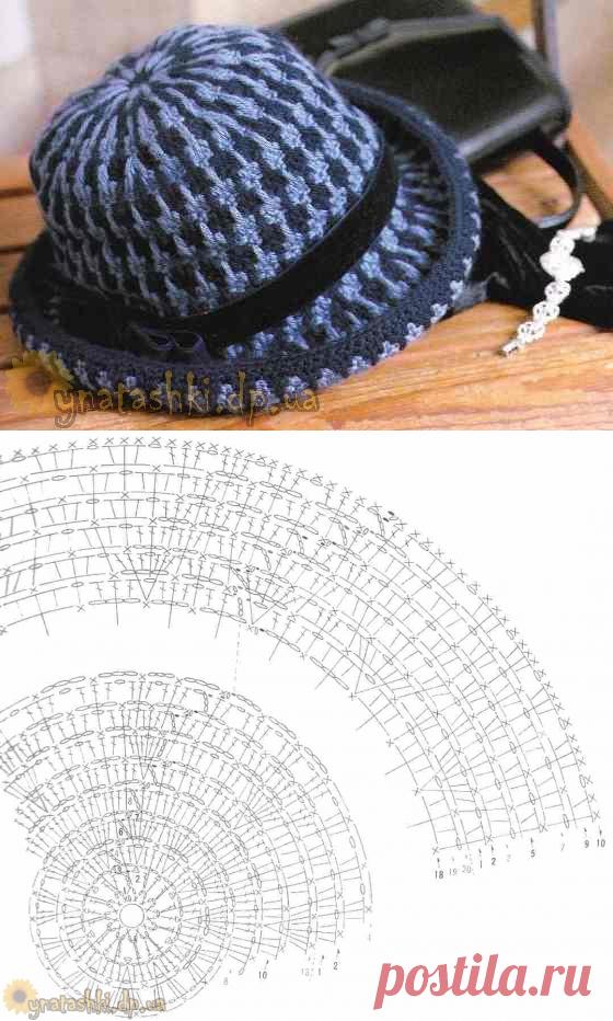 Вязаная шляпа с полями
