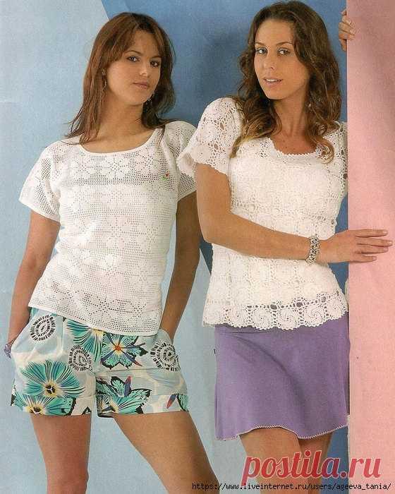 Две летних блузы крючком.