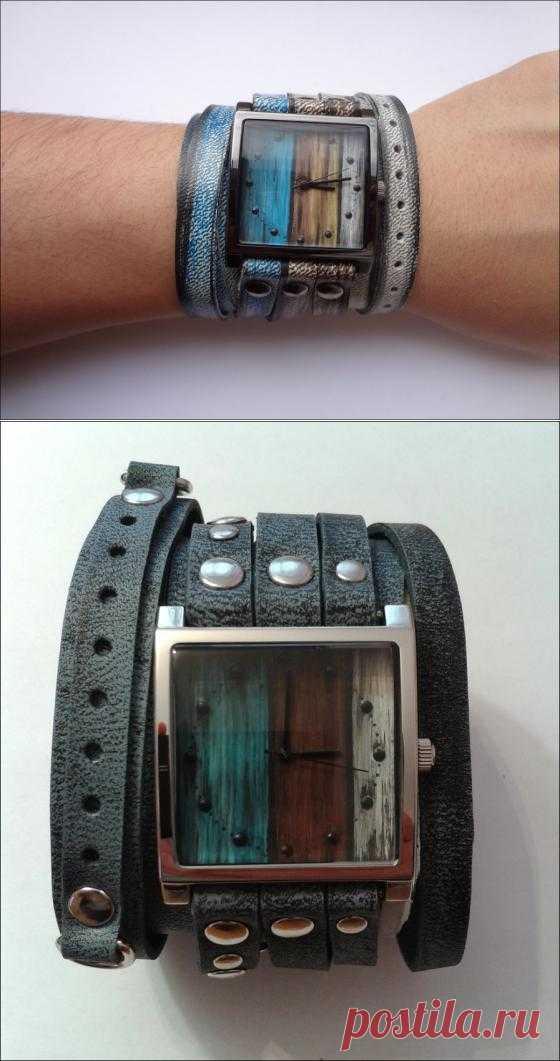 Яркие оригинальные часы с ручной росписью - 3000 руб   Клёвости