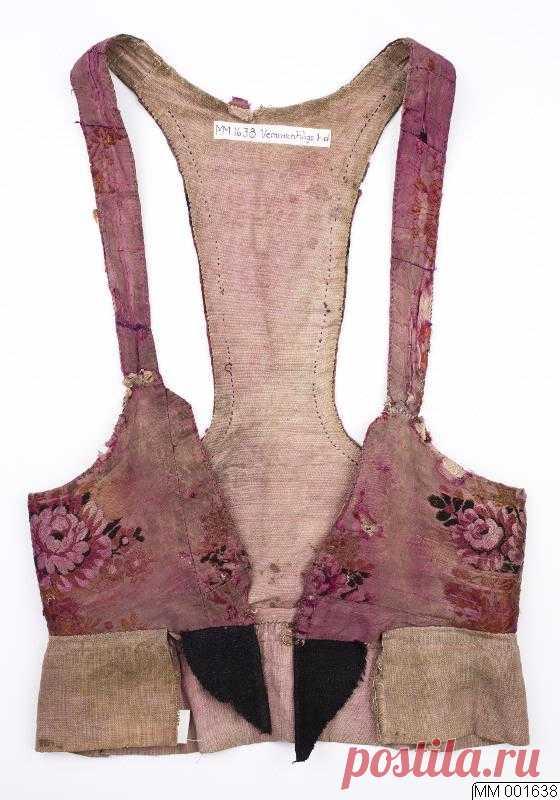 Мм-001638  ::  лиф, народное искусство Лиф из шелка, подписанный, позже окрашенный в фиолетово-красные кристаллы. Подкладка верха.