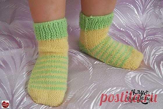 носочки на двух спицах без швов для ребенка до 2 х лет вязание