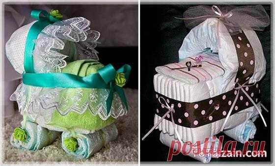 подарок для новорожденных из памперсов