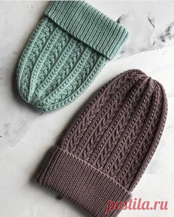 Красивая шапочка. Описание (Вязание спицами) – Журнал Вдохновение Рукодельницы
