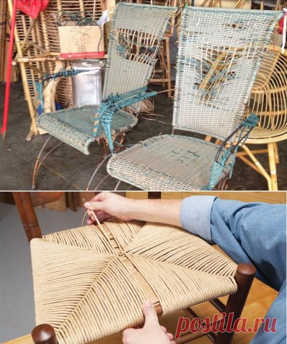 Ремонт мебели из ротанга: реставрация стульев из ротанговой сетки