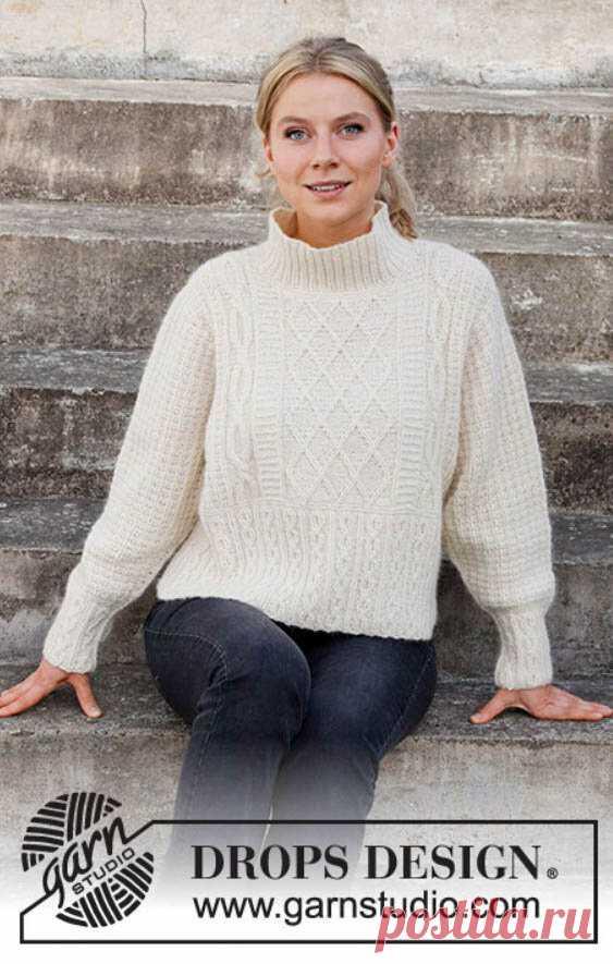 Перевод описания вязания спицами женского джемпера «Ледяные замки» с аранами от Drops Design | Ксения Kukanchik | Яндекс Дзен