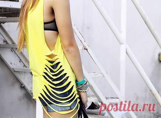 Порезанная футболка:-) / Прорези / Модный сайт о стильной переделке одежды и интерьера