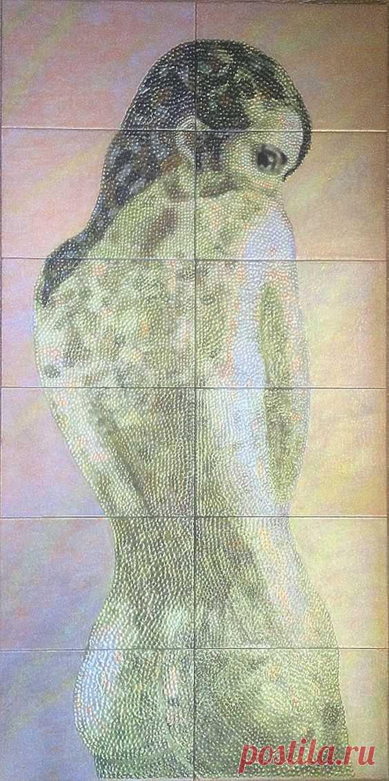 панно в душ, плитка ручной работы, плитка керамическая ручной работы, панно Девушка, панно керамическое, панно из плитки