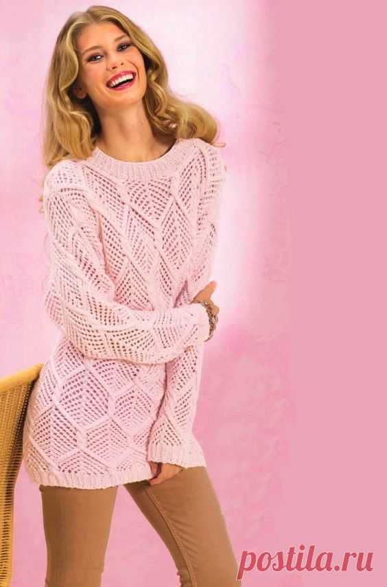 Pullover with openwork rhombuses