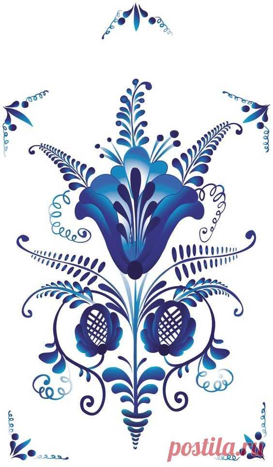 Folk Gzhel painting from Russia. Floral pattern. #Russian #folk of #art #patterns | koguty i wielkanoc