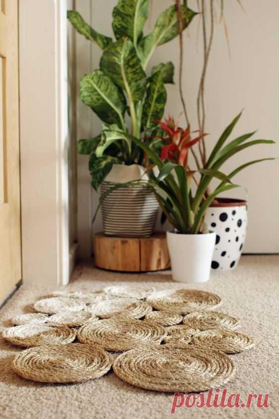 Идеи самодельных ковриков и салфеток из бечевки