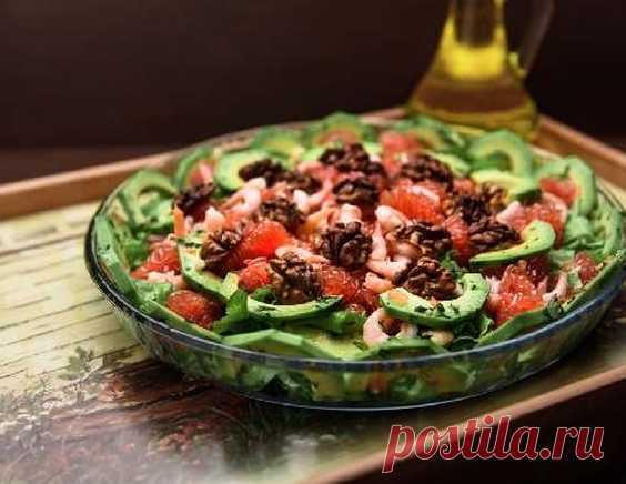 Салат из грейпфрута и авокадо с грецким орехом - рецепт приготовления с фото от Maggi.ru