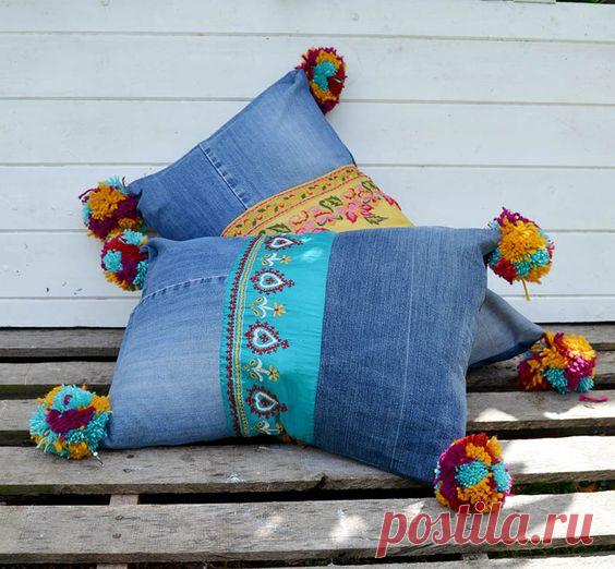 Диванные подушки - перешитые из любимых джинсов! Идеи для воплощения!  