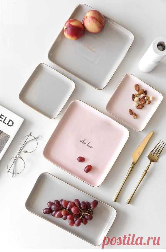 квадратные плоские тарелки