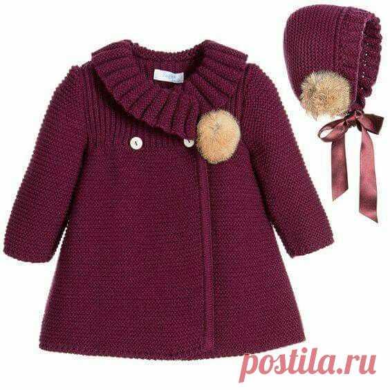пальто для девочки спицами вязание для девочек постила