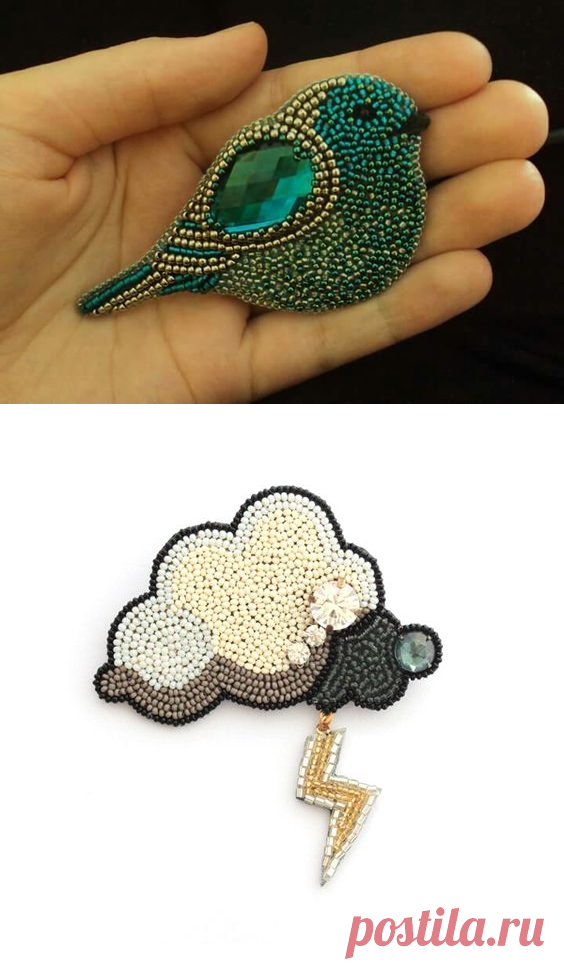 Brooches. Beadwork.