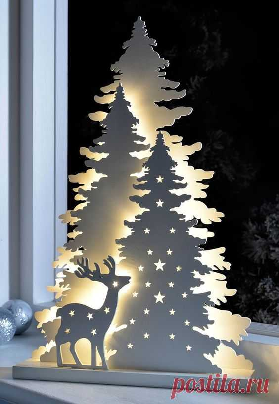 """Светодиодный светильник """"Зимний лес с оленем"""""""