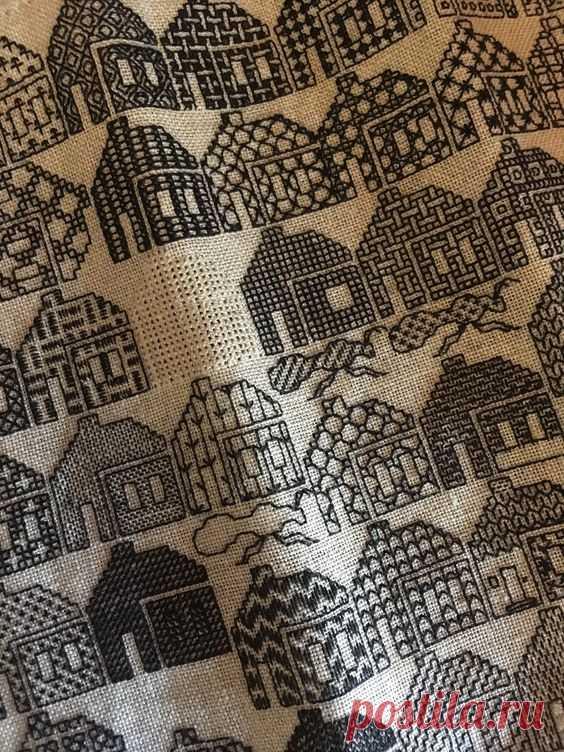 Вышитые домики Модная одежда и дизайн интерьера своими руками