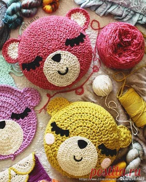 Подушка – игрушка, связанная крючком (схема) | Рукоделие