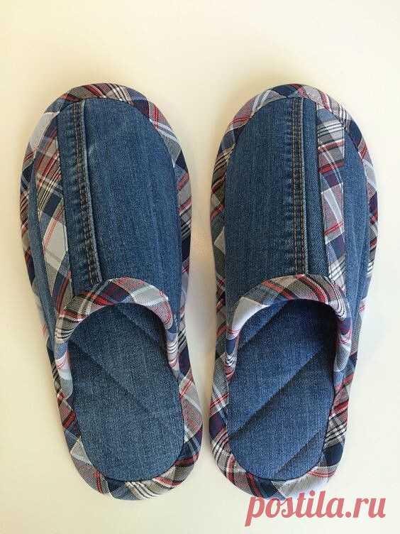 Используем джинсы для пошива домашних тапочек. Выкройка