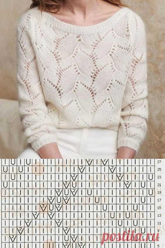 Связать белый ажурный пуловер спицами. Стильный пуловер спицами 2020 из мохера.