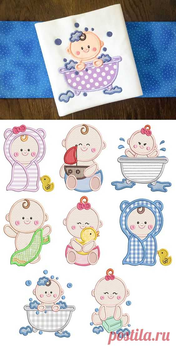 $6 · Designs by JuJu Exclusive 4 sizes included: 4x4, 5x7, 6x10 and 8x8 8 precious bath time babies in applique!