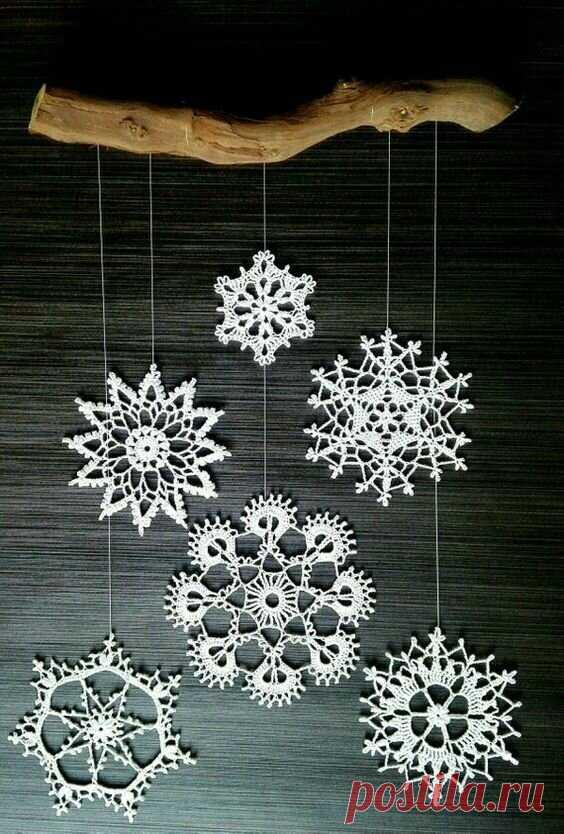 Вязание крючком для начинающих: снежинки со схемами | Только handmade | Яндекс Дзен