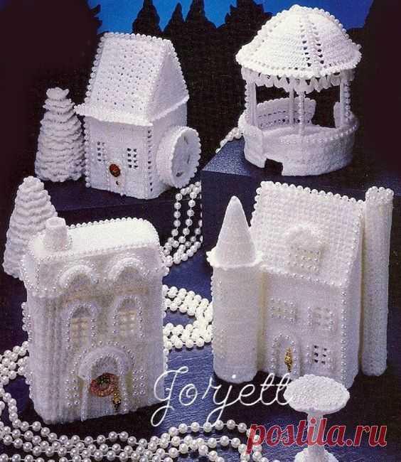 Много красоты и новогоднего настроения принесут в ваш дом вязаные рождественские домики, замки и церкви. Они украсят подоконники, полки, камины. Вязаная архитектура превратится в ночники, если ...