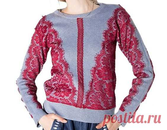 Кружево на свитере Модная одежда и дизайн интерьера своими руками