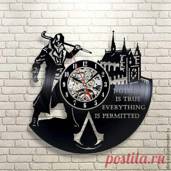 Часы настенные  AssassinS – купить в интернет-магазине на Ярмарке Мастеров с доставкой Часы настенные  AssassinS - купить или заказать в интернет-магазине на Ярмарке Мастеров | Часы изготовлены из старых виниловых пластинок.