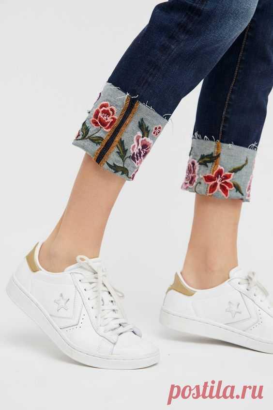 Вышитые отвороты джинсов Модная одежда и дизайн интерьера своими руками