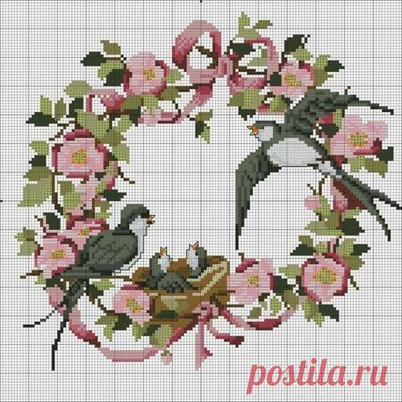 Весенние птички в вышитых картинах