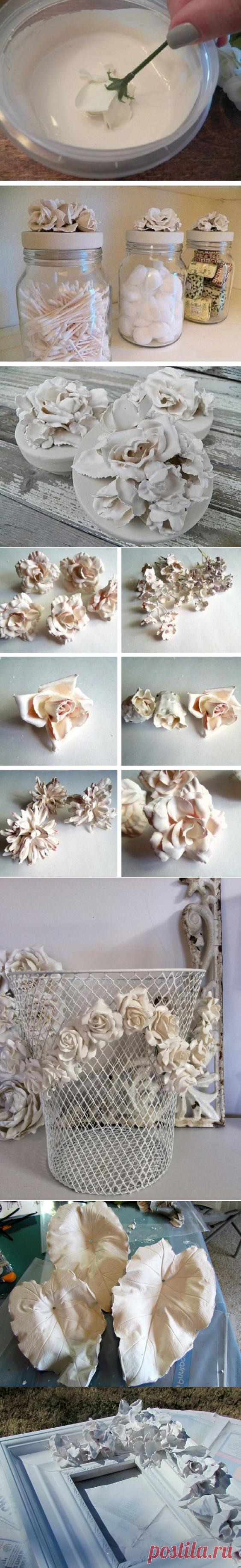 Стильные цветы из гипса своими руками.