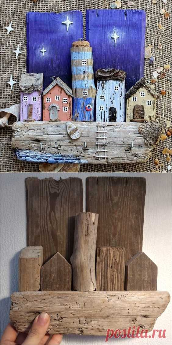 Driftwood Key Holder for Wall with Wooden Houses