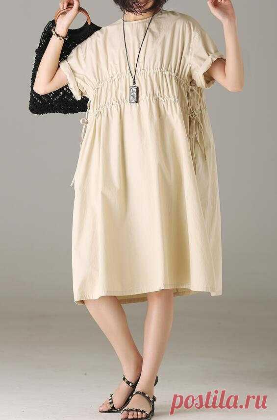 Cotton dress in beige maxi dress pleated dress short