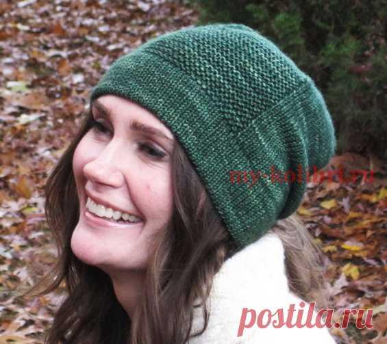 простая шапка спицами платочной вязкой вязание шапки шарфы