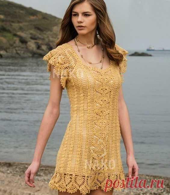 Красивая пляжное платье крючком «Нежность» - Колибри Легкое, воздушное пляжное платье крючком нежным ажурным узором станет незаменимой вещью в вашем пляж