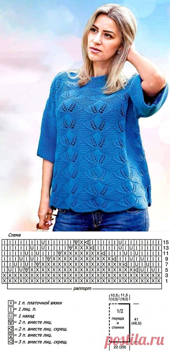 Свободный пуловер ажурным узором (Вязание спицами) – Журнал Вдохновение Рукодельницы