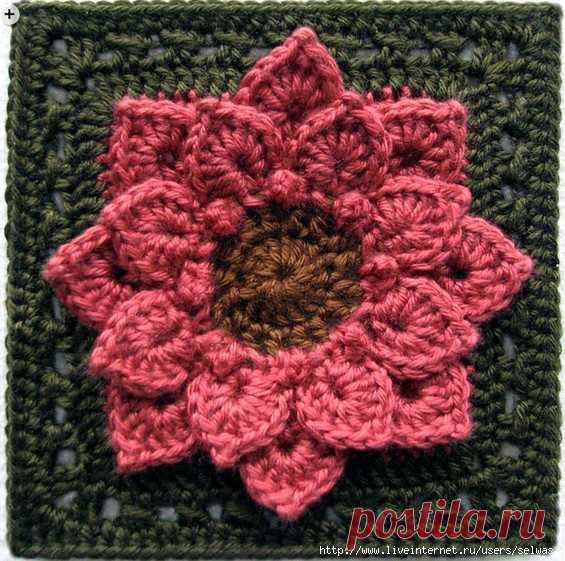 видео вязания крючком бабушкин квадрат с объемным цветком бесплатно