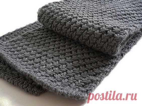 мужской шарф спицами жемчужным узором вязание постила