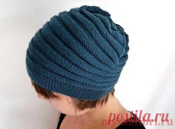 Простая шапка спицами для начинающих «Полосатик»