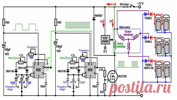 schematic electric circuit of the Generator of Hendershot ... on