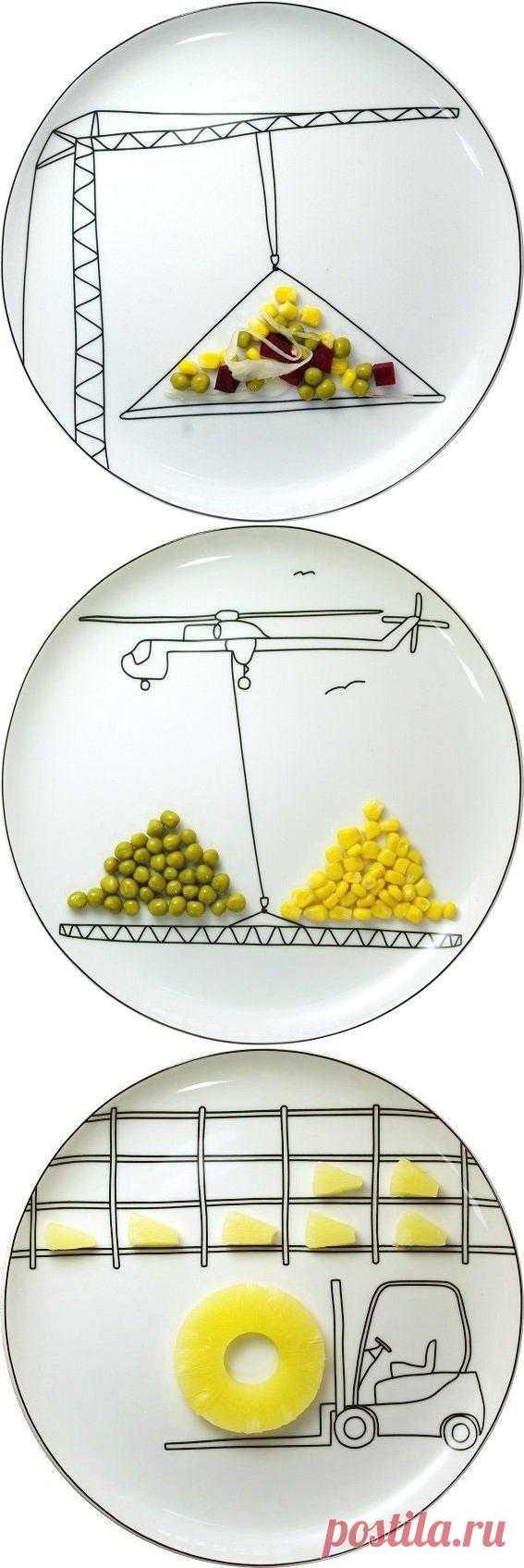 Разукрасить такую тарелку несложно и самому - нужно всего лишь найти белый сервиз и специальную черную краску. А есть из такого шедевра - одно удовольствие, даже самые нелюбимые, но такие полезные овощи.
