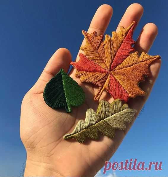 Как вышить листья каркасной вышивкой