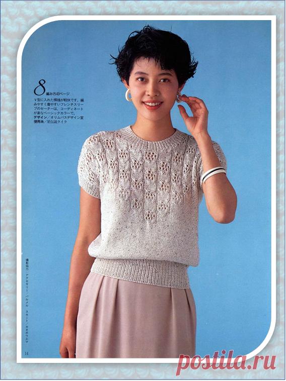 7 джемперов с коротким рукавом из японских журналов   Embroidery art   Яндекс Дзен