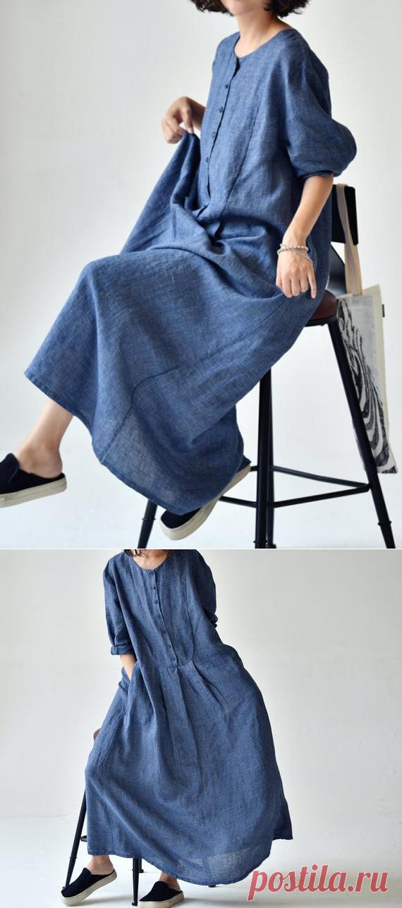 Women summer dress Linen long dress Loose fitting Linen | Etsy