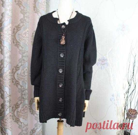 Women sweater coat knitted coat Black cardigan jacket Long   Etsy 【Fabric】 Cotton 【Color】 Black 【Size】 Shoulder width 45cm/ 18 Sleeve length 60cm/ 23 Bust 112cm/ 44 Length 75cm/ 29   Have any questions please contact me and I will be happy to help you.