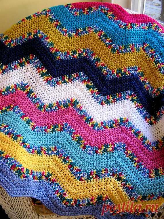 New Chevron Zig Zag Baby Blanket Afghan Wrap Crochet Knit Lap Robe