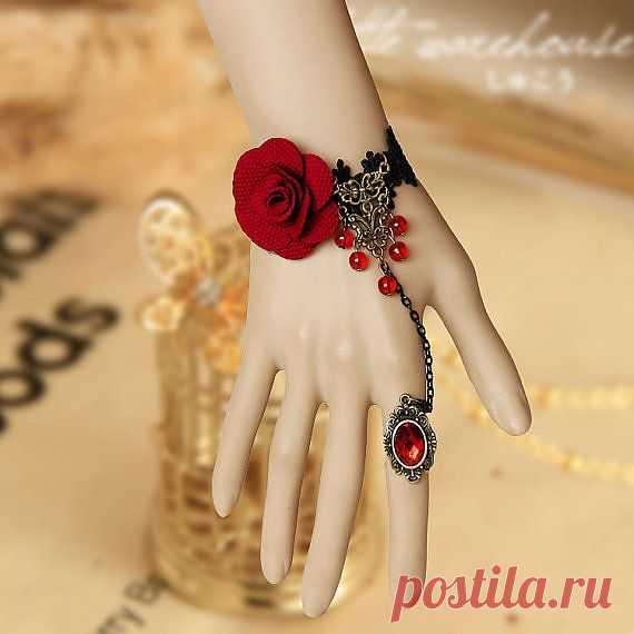 Браслет с розой и совместным кольцом - $8.89 USD