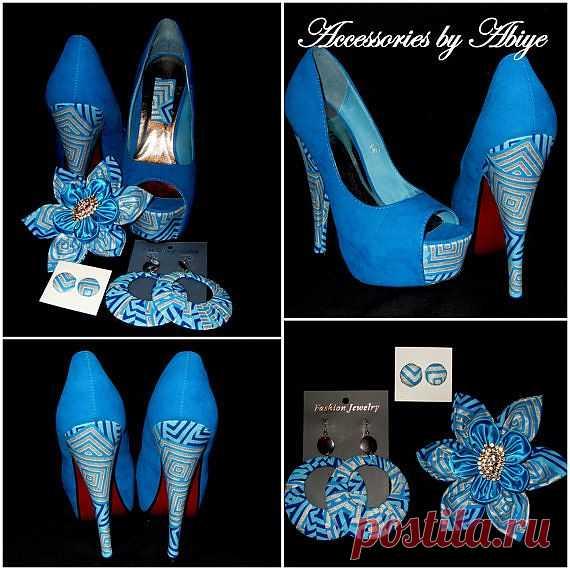 Голубые туфли с африканским принтом ($78.49 USD)