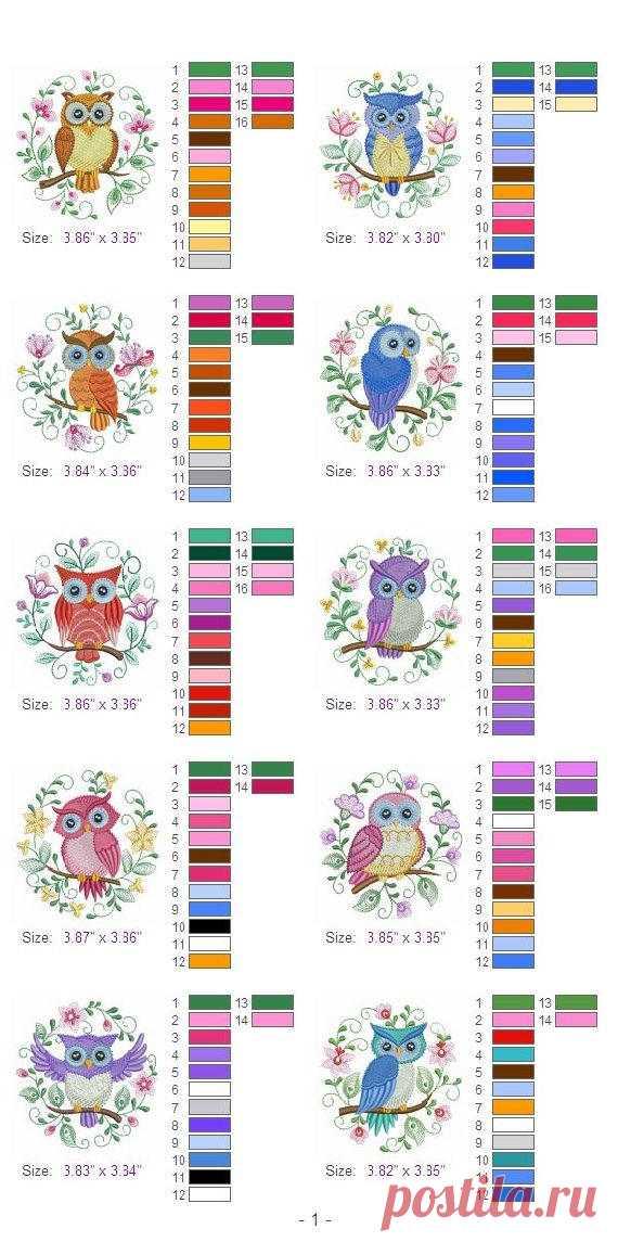 Diseños de 4 x 4 aro 10 jacobea buhos pájaro máquina bordado diseños ...